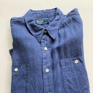 Polo Ralph Lauren Men's Blue Linen Oxford Shirt XL